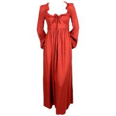 1970's BIBA long dress with adjustable neckline and bishop sleeves