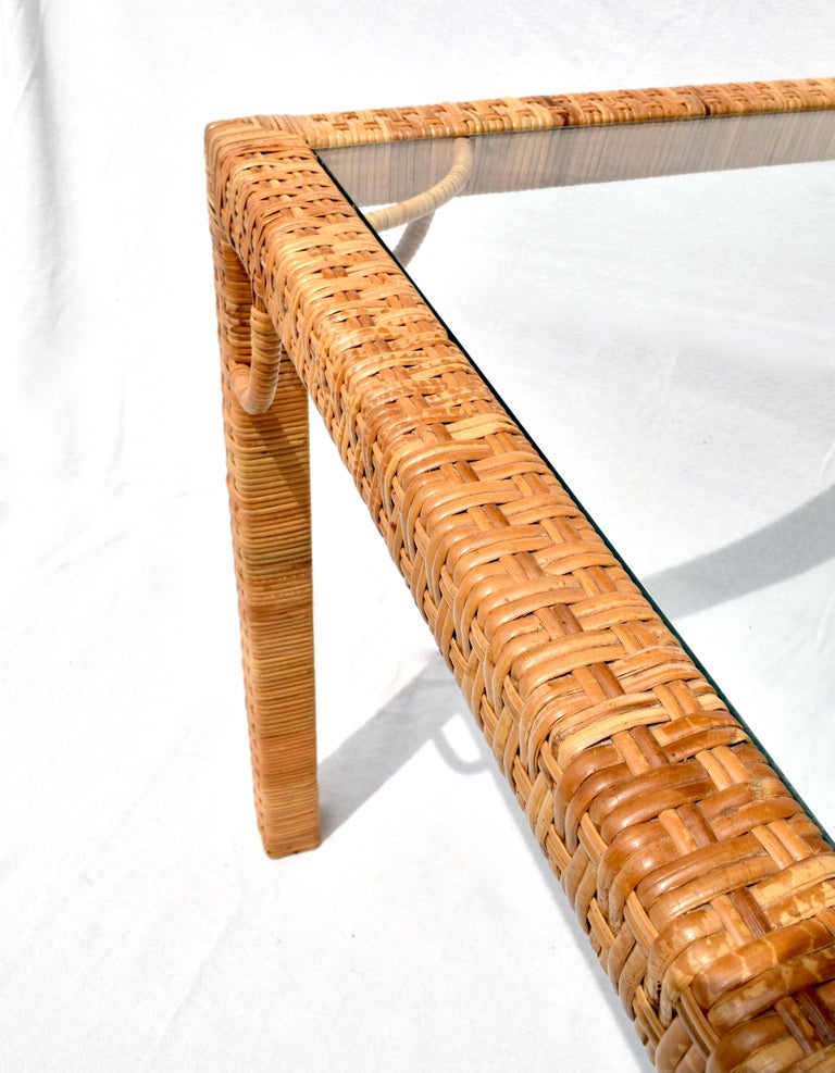 1970's Bielecky Brothers Rattan & Glass Parsons Dining or Writing Table For Sale 4