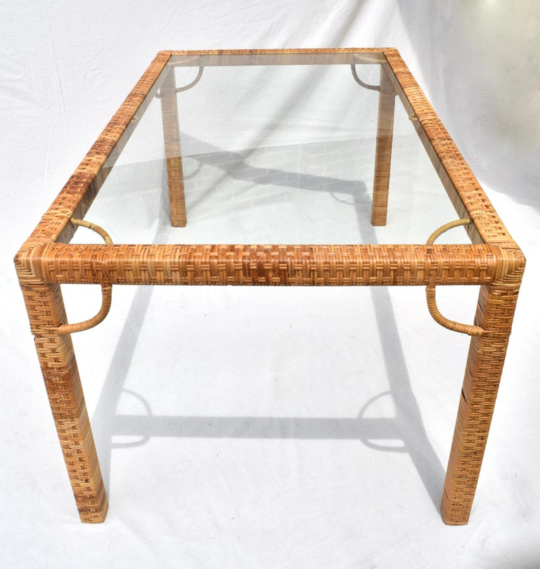 Mid-Century Modern 1970's Bielecky Brothers Rattan & Glass Parsons Dining or Writing Table For Sale