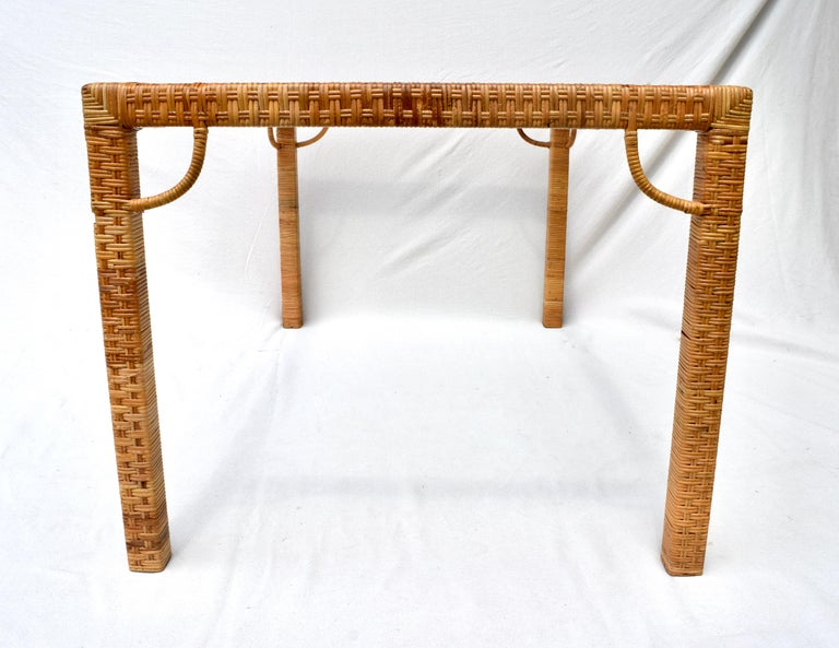 American 1970's Bielecky Brothers Rattan & Glass Parsons Dining or Writing Table For Sale