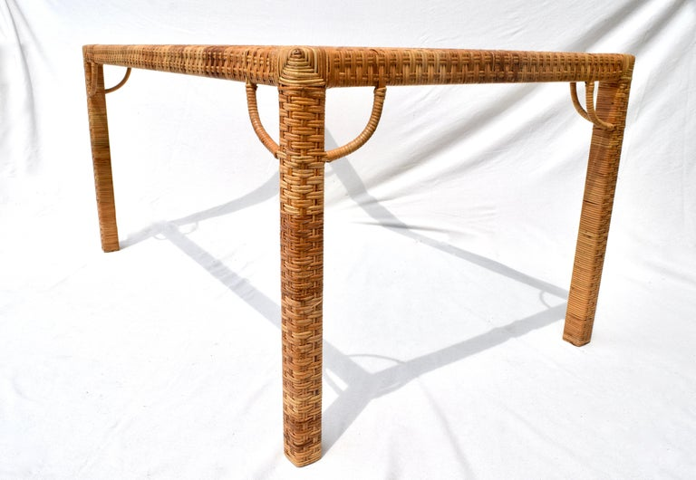 20th Century 1970's Bielecky Brothers Rattan & Glass Parsons Dining or Writing Table For Sale