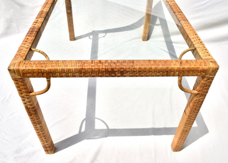 1970's Bielecky Brothers Rattan & Glass Parsons Dining or Writing Table For Sale 1