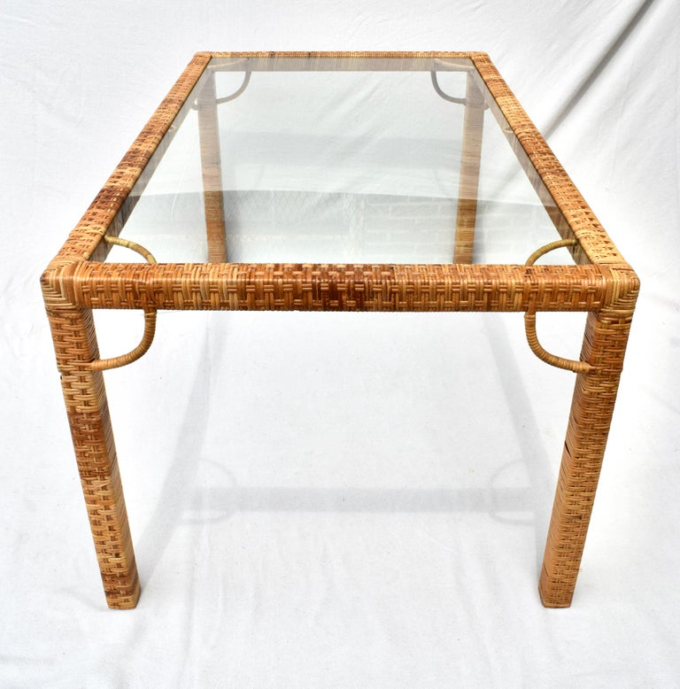 1970's Bielecky Brothers Rattan & Glass Parsons Dining or Writing Table For Sale 2
