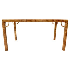 1970's Bielecky Brothers Rattan & Glass Parsons Dining or Writing Table