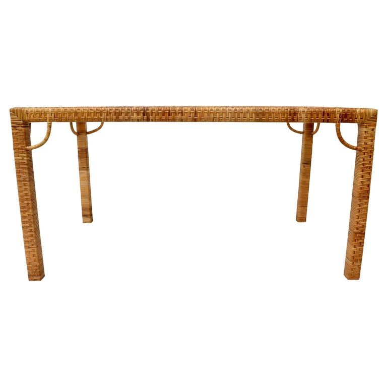 1970's Bielecky Brothers Rattan & Glass Parsons Dining or Writing Table For Sale