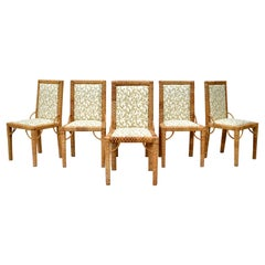 1970s Bielecky Brothers Rattan Parsons Dining Chairs
