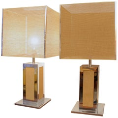 1970s Big Chrome and Cane Pair of Table Lamps