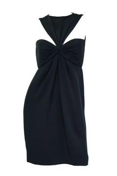 6d2a62edcd3 1970s Bill Blass Black Knot Front Cocktail Dress