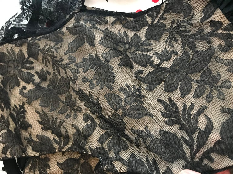 1970s Bill Blass Black Lace and Silk Tafetta Maxi Dress In Excellent Condition For Sale In Beverly Hills, CA