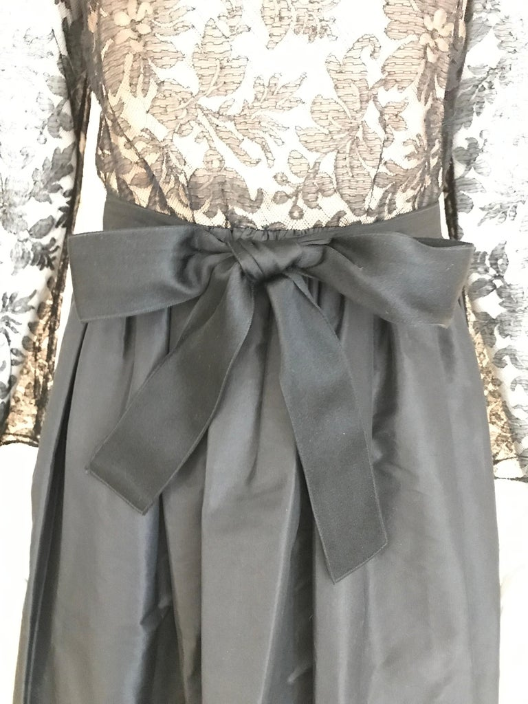 Women's 1970s Bill Blass Black Lace and Silk Tafetta Maxi Dress For Sale