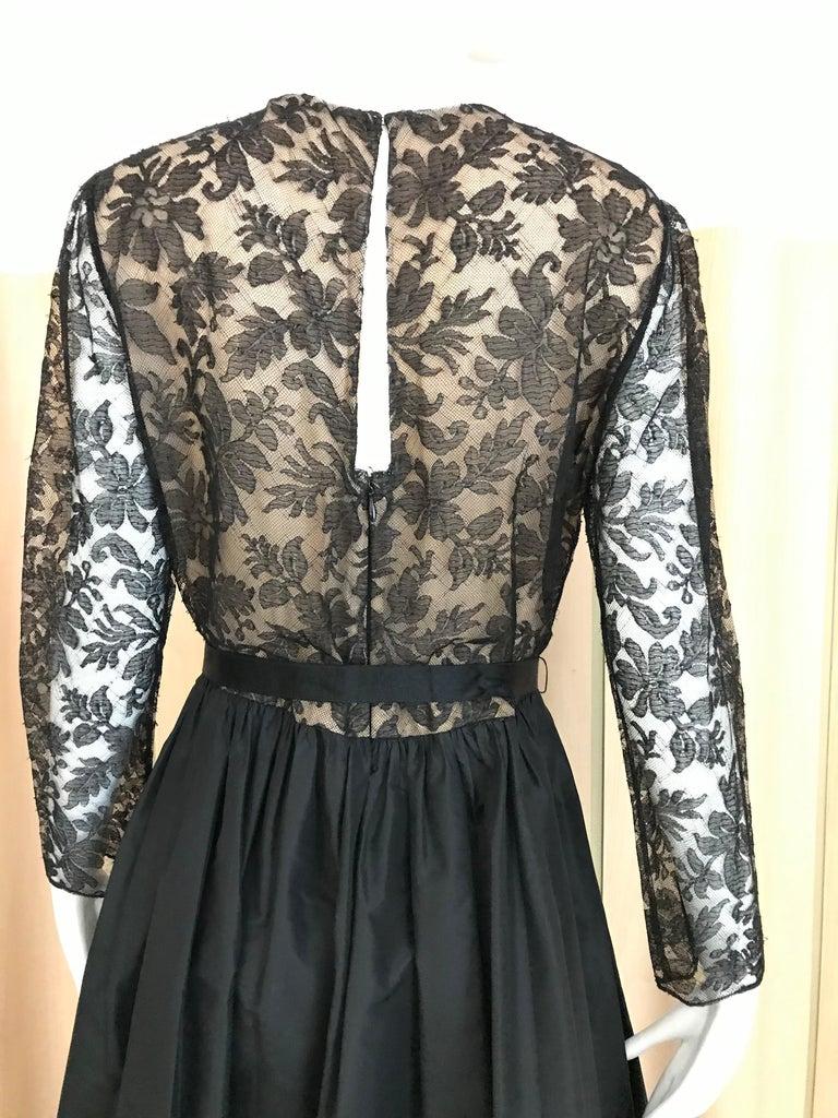 1970s Bill Blass Black Lace and Silk Tafetta Maxi Dress For Sale 1