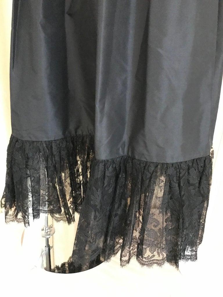 1970s Bill Blass Black Lace and Silk Tafetta Maxi Dress For Sale 2