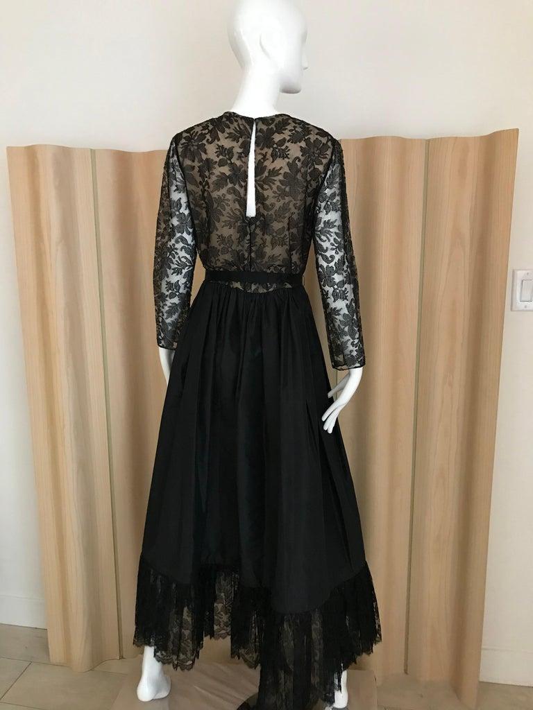 1970s Bill Blass Black Lace and Silk Tafetta Maxi Dress For Sale 3