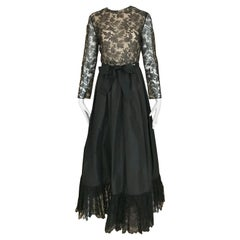 1970s Bill Blass Black Lace and Silk Tafetta Maxi Dress