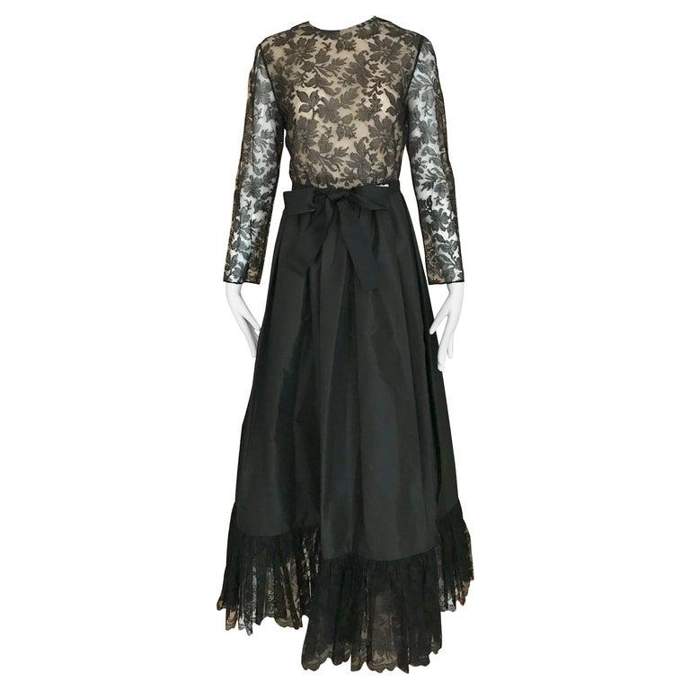 1970s Bill Blass Black Lace and Silk Tafetta Maxi Dress For Sale