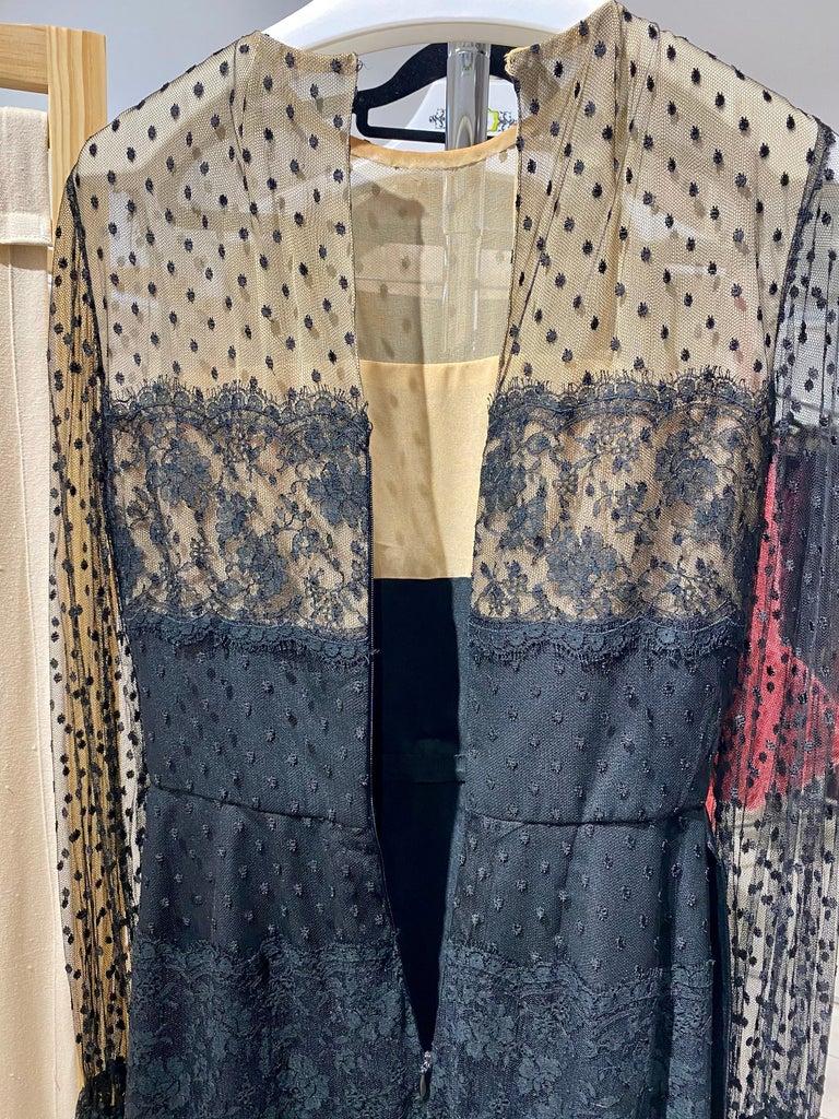 1970s BILL BLASS Black Long Sleeve Silk Dress For Sale 7