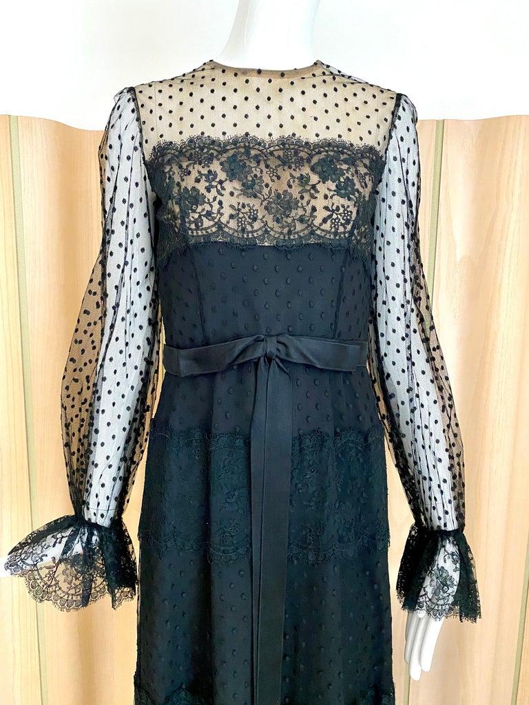 "1970s Bill Blass Black silk polkadots long sleeve maxi gown. Dress has nude lining. Size: small/ 4  Bust: 34 inches/ Waist : 26"""