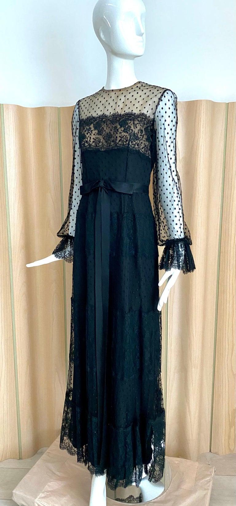 1970s BILL BLASS Black Long Sleeve Silk Dress For Sale 1