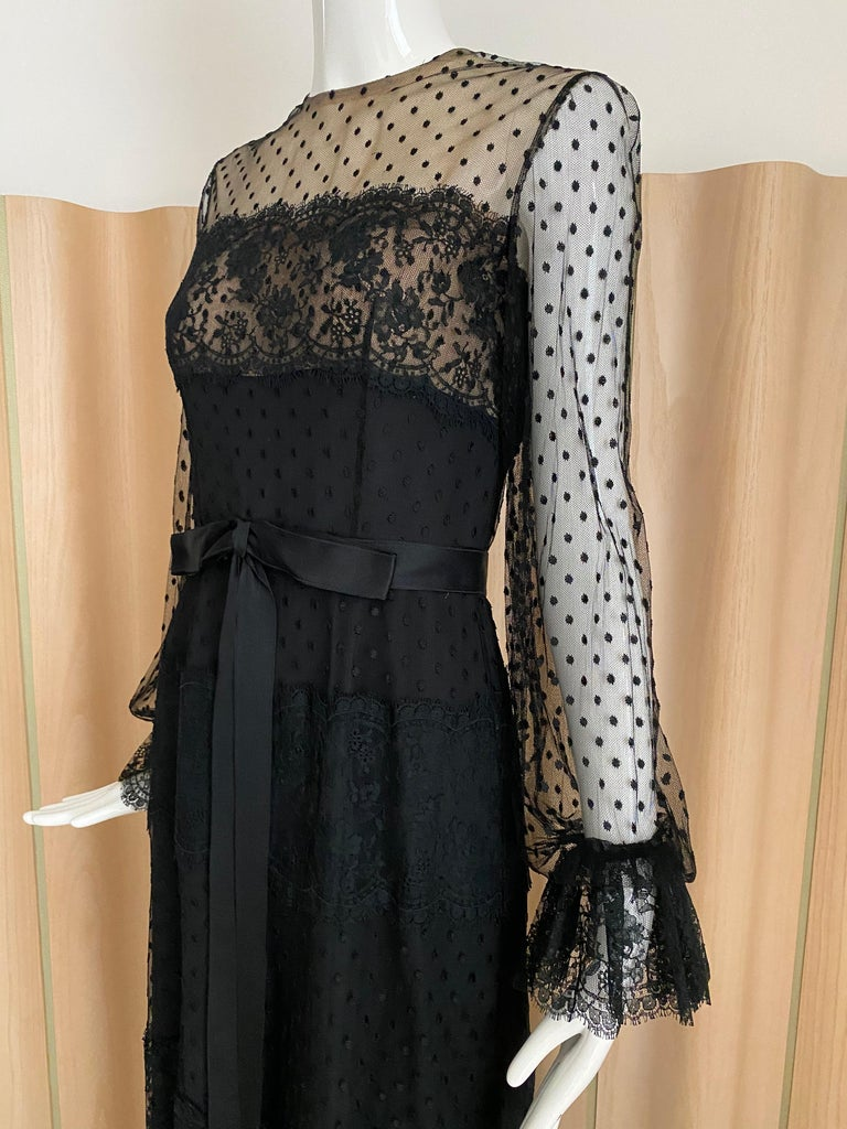 1970s BILL BLASS Black Long Sleeve Silk Dress For Sale 3