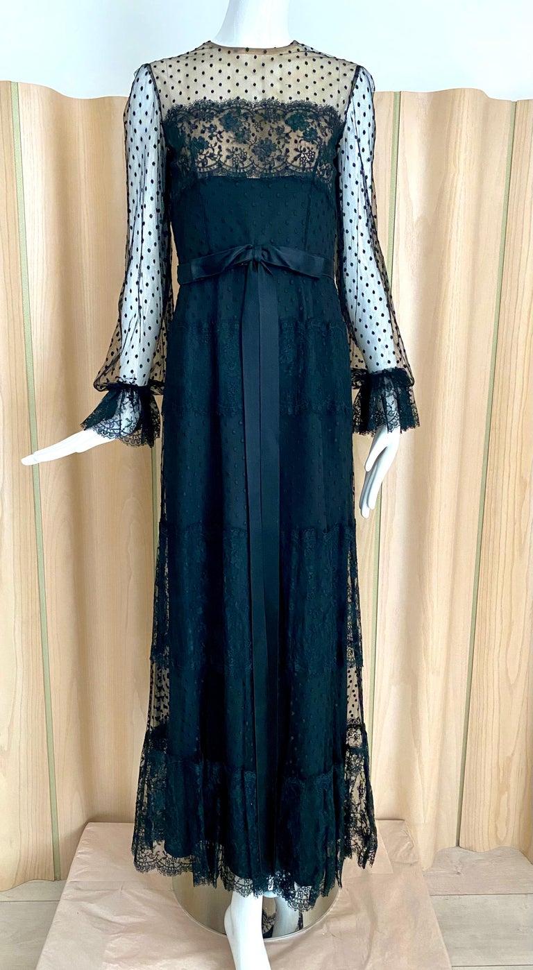 1970s BILL BLASS Black Long Sleeve Silk Dress For Sale 4