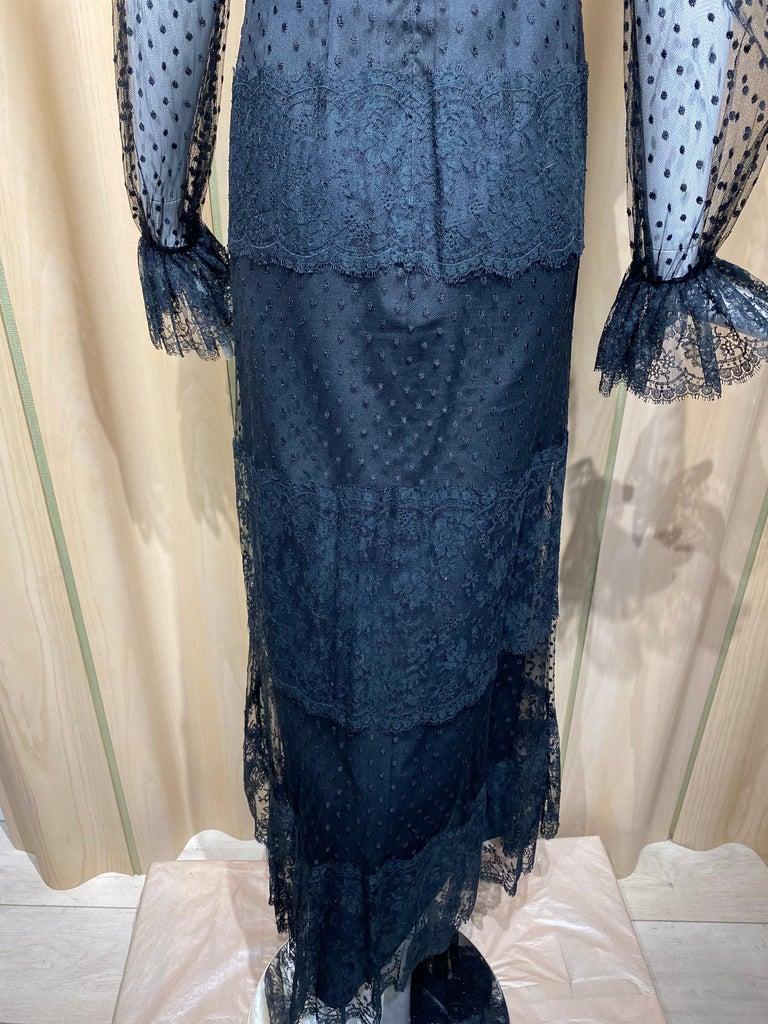 1970s BILL BLASS Black Long Sleeve Silk Dress For Sale 5