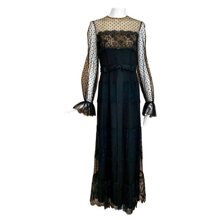 1970s BILL BLASS Black Long Sleeve Silk Dress For Sale