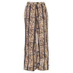 1970S BILL BLASS Blue & Beige Batik Cotton Pants