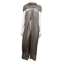 1970s Bill Blass Grey and Brown Silk Chiffon Strapless Jumpsuit with Shawl