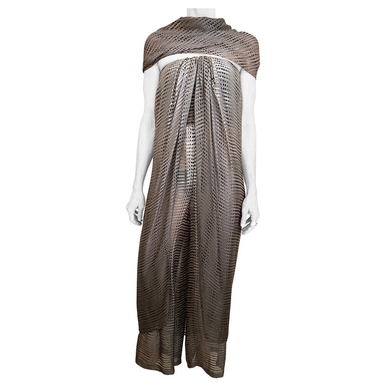 1970s Bill Blass Grey and Brown Silk Chiffon Strapless Jumpsuit with Shawl For Sale