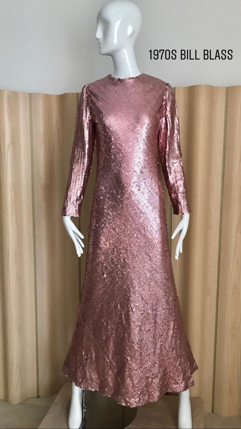 Vintage 70s Bill Blass Pink Metallic Sequin Long Sleeve gown.  Zipper at the back. Some missing sequins but not significant. Bust: 36 inches  Size: SM-MED