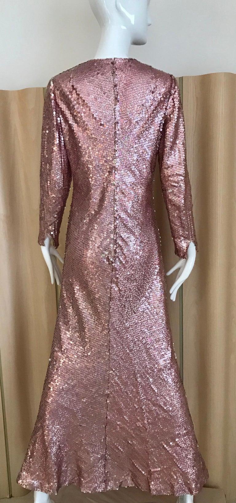 Brown 1970s Bill Blass Pink Metallic Sequin Long Sleeve Gown For Sale