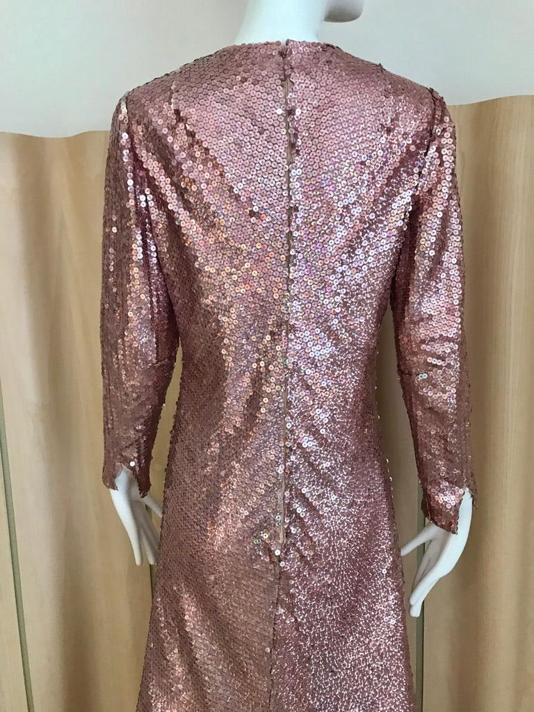 1970s Bill Blass Pink Metallic Sequin Long Sleeve Gown In Good Condition For Sale In Beverly Hills, CA
