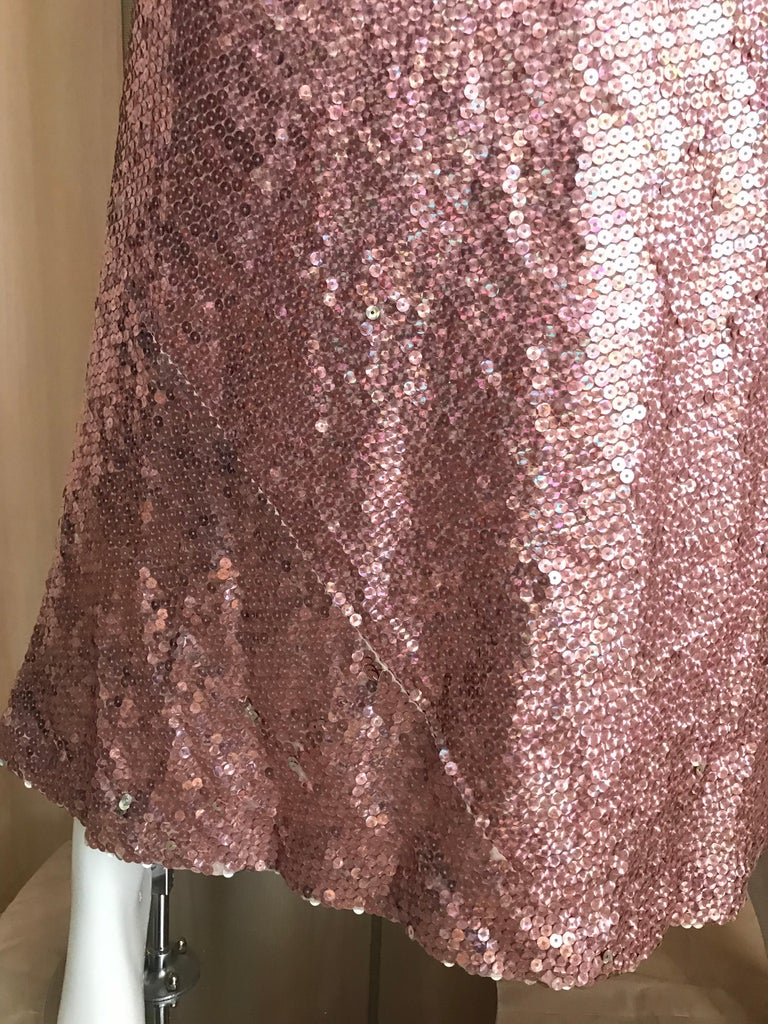 Women's 1970s Bill Blass Pink Metallic Sequin Long Sleeve Gown For Sale