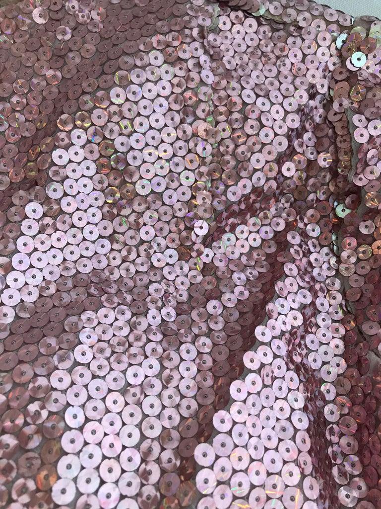 1970s Bill Blass Pink Metallic Sequin Long Sleeve Gown For Sale 1