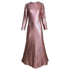 1970s Bill Blass Pink Metallic Sequin Long Sleeve Gown