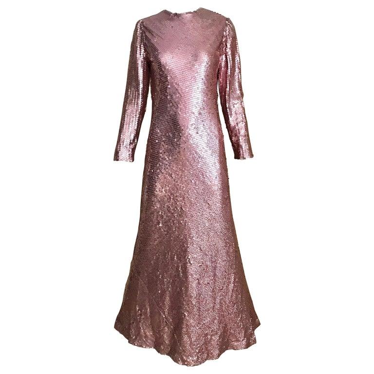 1970s Bill Blass Pink Metallic Sequin Long Sleeve Gown For Sale