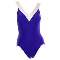 1970s Bill Blass Vintage Purple Swimsuit W Low Back in Purple and Ivory