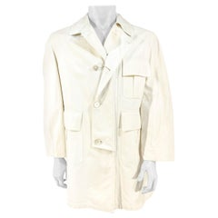 1970s Bill Blass White Canvas Trench Coat