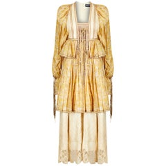 1970s Bill Gibb Peasant Dress With Beaded Tassels and Novelty Seashell Print