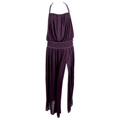 1970's BILL GIBB purple jersey gown with metallic trim