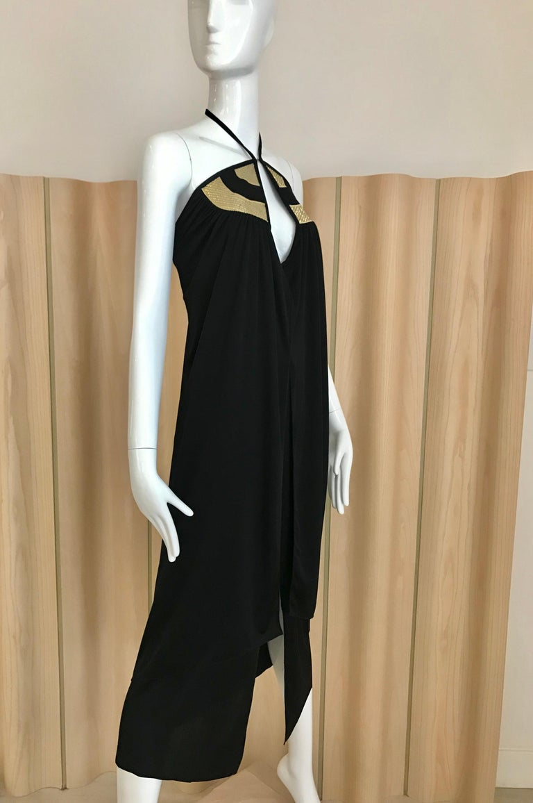 1970s Bill Tice Black Jersey Halter Disco Dress In Good Condition For Sale In Beverly Hills, CA