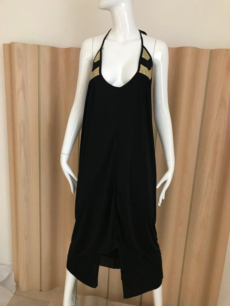 Women's 1970s Bill Tice Black Jersey Halter Disco Dress For Sale