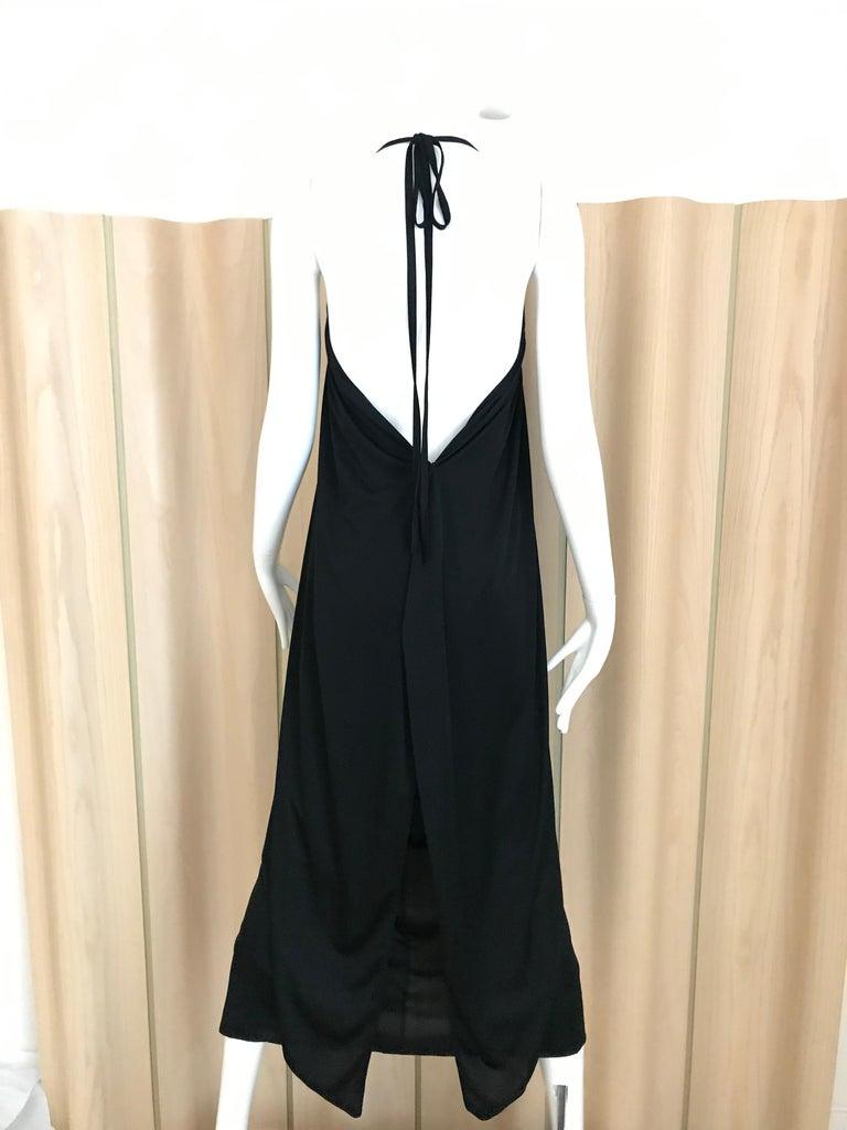 1970s Bill Tice Black Jersey Halter Disco Dress For Sale 3