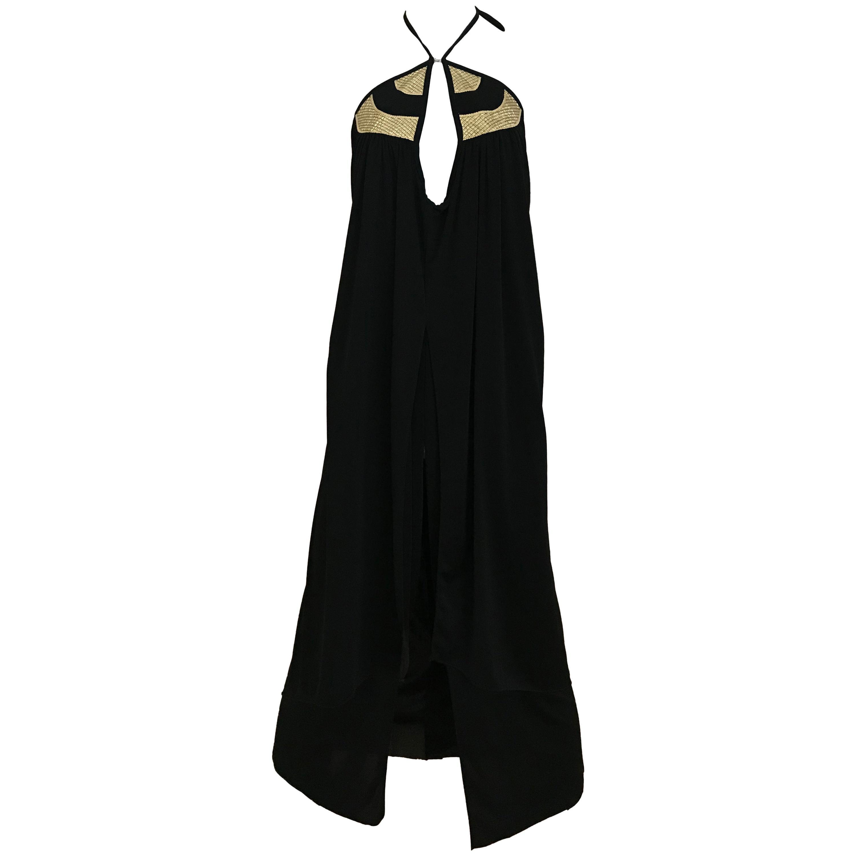 1970s Bill Tice Black Jersey Halter Disco Dress