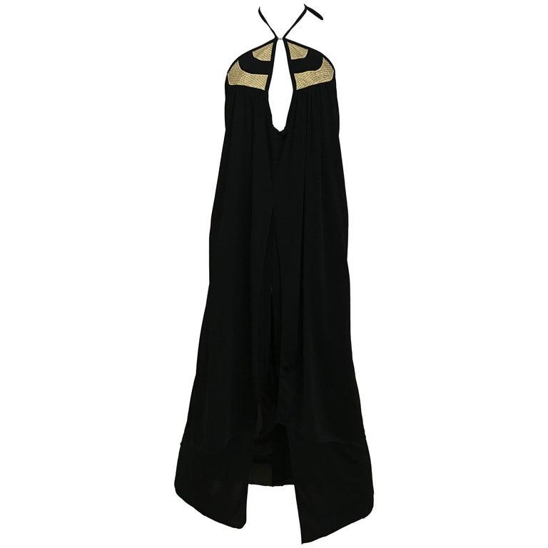 1970s Bill Tice Black Jersey Halter Disco Dress For Sale