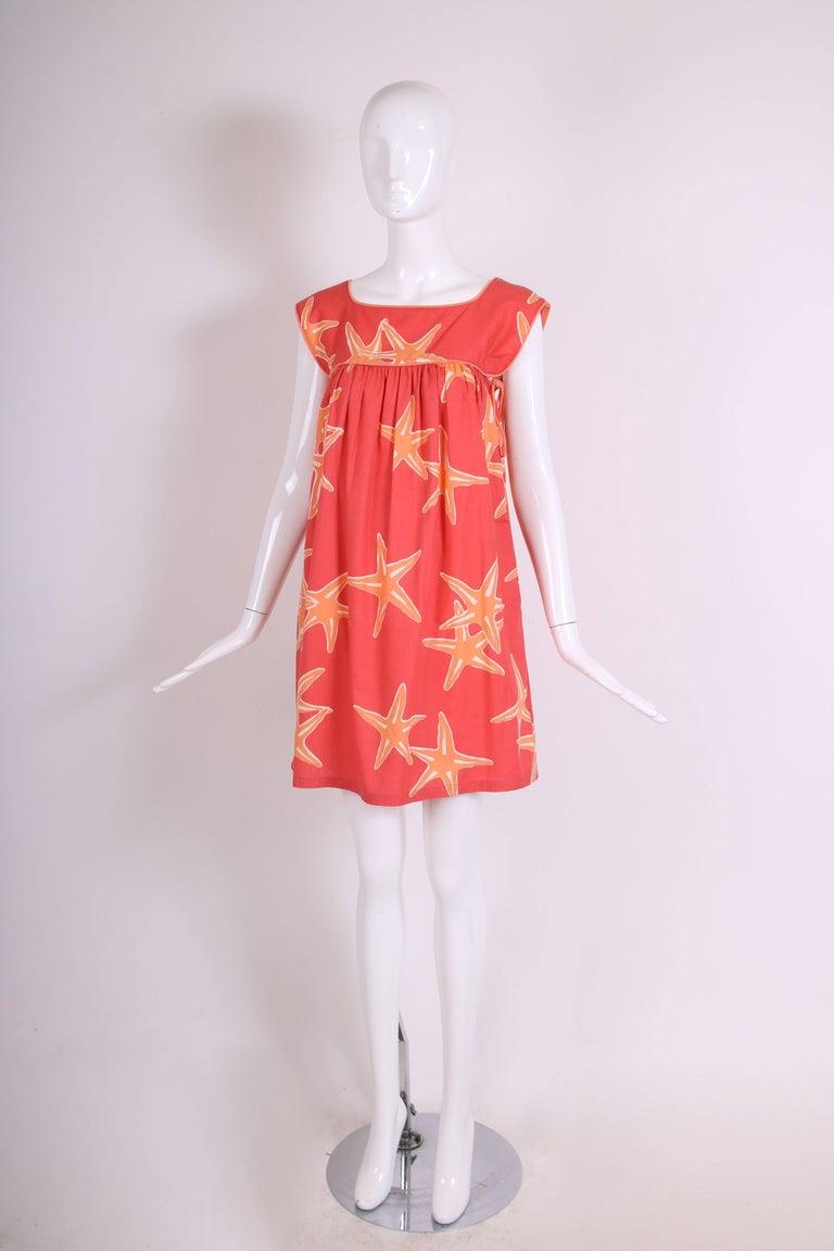 ab0b182dc32 Red Bill Tice Orange and White Starfish Print Sleeveless Babydoll Sundress
