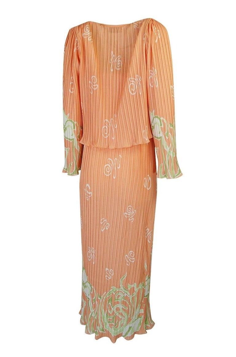 Orange Bill Tice Peach Print Halter Dress and Jacket Pleat Set, 1970s  For Sale