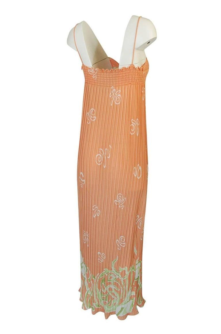 Bill Tice Peach Print Halter Dress and Jacket Pleat Set, 1970s  For Sale 1