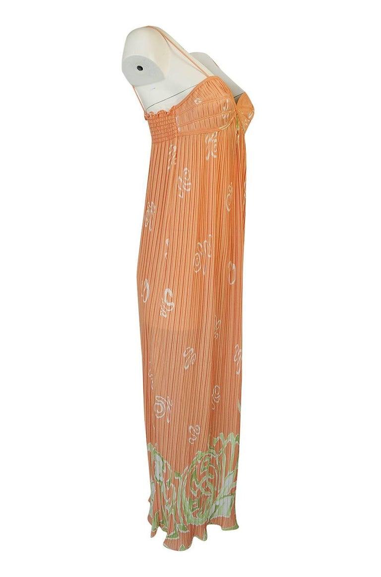 Bill Tice Peach Print Halter Dress and Jacket Pleat Set, 1970s  For Sale 2