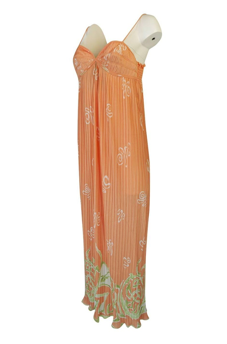Bill Tice Peach Print Halter Dress and Jacket Pleat Set, 1970s  For Sale 3